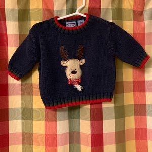0-3 month Christmas sweater with reindeer